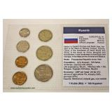 Sheet of 7 Russia Coins – auction estimate $5-$10