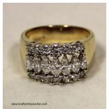 14 Karat Yellow Gold 2 CTWMarquise and Round Diamond Ring – auction estimate $1000-$3000