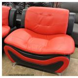NEW Ultra Modern Design 3 Piece Leather Living Room Set in the Ferrari Red and Black (may be offered