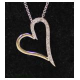 14 Karat White Gold ¼ CTW Diamond Heart Pendant and Necklace – auction estimate $300-$600