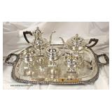 6 Piece BEAUTIFUL Sterling Tea Set in a Classical Design with Silver Plate Under Tray – auction est