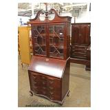 Mahogany Ball and Claw Serpentine Front Secretary with Bookcase Top