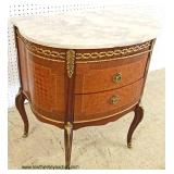 ANTIQUE Marble Top French Mahogany Inlaid and Banded 2 Drawer Commode with Applied Bronze