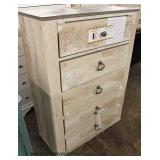 NEW Contemporary White Washed 5 Drawer High Chest – Located Inside – Auction Estimate $100-$300