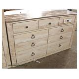 NEW Contemporary White Wash 8 Drawer Low Chest – Located Inside – Auction Estimate $100-$300