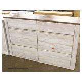 "NEW Contemporary ""Signature Design by Ashley"" White Wash 6 Drawer Low Chest"
