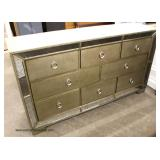 NEW Contemporary Deocrator 8 Drawer Low Chest with Mirror Accents