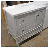 """NEW Contemporary 37""""Marble Top Grey Base Bathroom Vanity"""