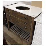 "NEW Contemporary 72"" Marble Top Barn Wood Style Bathroom Vanity with Faucets"