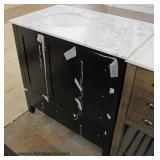 New Contemporary Marble Top Black Base Bathroom Vanity
