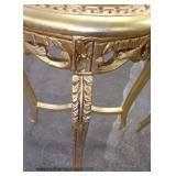 PAIR of French Style Marble Top Gold Painted Carved Stands