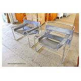 PAIR of Leather and Chrome Modern Design Arm Chairs