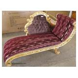 French Style Carved Gold Painted Base Upholstered Chaise Lounge