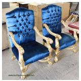 PAIR of French Style Blue Upholstered Button Tufted Gold Painted Carved Frame Arm Chairs