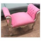 French Style Pink Upholstered Button Tufted Sides Painted Silver Carved Frame End of the Bed Bench
