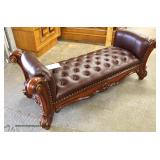 NEW Contemporary Mahogany Carved Frame Leather Like Button Tufted End of the Bed Bench