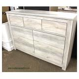 NEW Contemporary White Wash 7 Drawer Low Chest  Auction Estimate $100-$300 – Located Inside