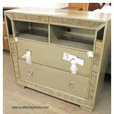 NEW Contemporary Decorator 2 Drawer Media Console with Mirror Accents  Auction Estimate $200-$400 –