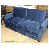 NEW Blue Velour Decorator Sofa  Auction Estimate $300-$600 – Located Inside