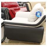 "NEW Contemporary ""Global"" Leather Black and Grey Modern Design Sofa and Chair  Auction Estimate $40"