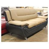 NEW Contemporary Leather Modern Design Tan and Black Sofa  Located Inside – Auction Estimate $300-$