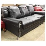 "NEW VERY COOL Contemporary Black Leather Monogram ""NY"" Sofa  Auction Estimate $300-$600 – Located I"