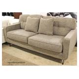 "NEW ""Ashley Furniture"" Upholstered Contemporary Sofa with Decorator Throw Pillows (Model MAWKDO)  A"