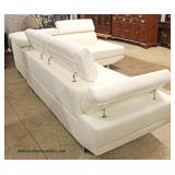 NEW White Leather Contemporary Modern Design 2 Piece Sectional with Adjustable Head and Arm Rest  A