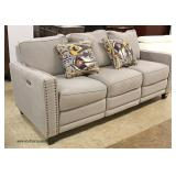 NEW Contemporary Upholstered Tacked Sofa with Power Recliners and USB Ports on Both Side  Auction E