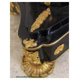 — GREAT —  PAIR of King Louie XVI Style Ebonized Column Marble Top Pedestals Decorated with Bronze