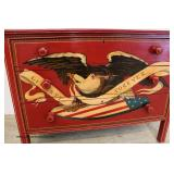 Paint Decorated with Eagle and Nautical Ship 3 Drawer Chest  Auction Estimate $300-$600 – Located I