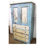 Blue / Cream Distressed Paint Decorated 2 Door 4 Drawer Cupboard  Auction Estimate $200-$400 – Loca