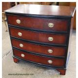 Mahogany Bracket Foot 4 Drawer Bow Front Bachelor Chest  Auction Estimate $100-$300 – Located Insid