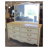 "French Provincial Style ""Henredon Fine Furniture"" Stenciled High Chest and Low Chest with Mirror  A"