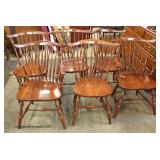 """7 Piece Cherry """"Pennsylvania House Furniture"""" Drop Side Table with 6 Brace Back Chairs  Auction Est"""