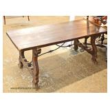 William Mary Style in the Primitive Manner Slab Dining Room Table with Iron Stretcher  Auction Esti
