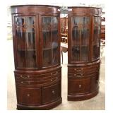 NICE PAIR of Burl Mahogany Bow Front 2 Door Corner Cabinets  Auction Estimate $200-$400 – Located I