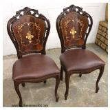 PAIR of Carved and Inlaid Walnut Black Forrest Style Chairs  Auction Estimate $100-$300 – Located I