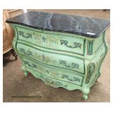 Paint Decorated Marble Top French Style 3 Drawer Chest  Auction Estimate $200-$400 – Located Inside
