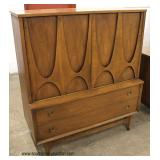 5 Piece Mid Century Modern Danish Walnut Bedroom Set with Queen Size Headboard and Fitted Interior
