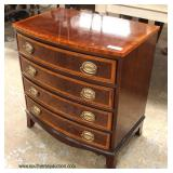 NICE Mahogany Inlaid and Banded Bow Front Bracket Foot Bow Front Bachelor Chest  Auction Estimate $