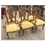 7 Piece French Style Oak Carved Parquet Top Dining Room Table and 6 Highly Carved Dining Room Chair