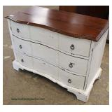 White Distressed Mahogany Top 3 Drawer Low Chest  Auction Estimate $100-$300 – Located Inside