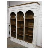 Monumental White Distressed and Mahogany 3 Drawer 3 Open Dome Top Bookcase  Auction Estimate $300-$