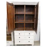White Distressed Shabby Chic Style Decorator 2 Door 4 Drawer Linen Press Cabinet with Mahogany Fini