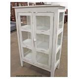 Glass Door and Side White Factory Paint Distressed Shabby Chic Style 2 Door Pie Safe  Auction Estim