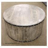 Reclaim Wood Iron Trim Round Coffee Table  Auction Estimate $100-$300 – Located Inside