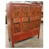 Primitive Painted Asian Style 4 Door Cabinet  Auction Estimate $300-$600 – Located Inside