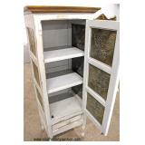 White Distressed 1 Door 1 Drawer Pierce Tin Pie Safe  Auction Estimate $100-$300 – Located Inside