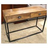 Industrial Style Reclaim Wood 2 Drawer Metal Base Console  Auction Estimate $100-$300 – Located Ins